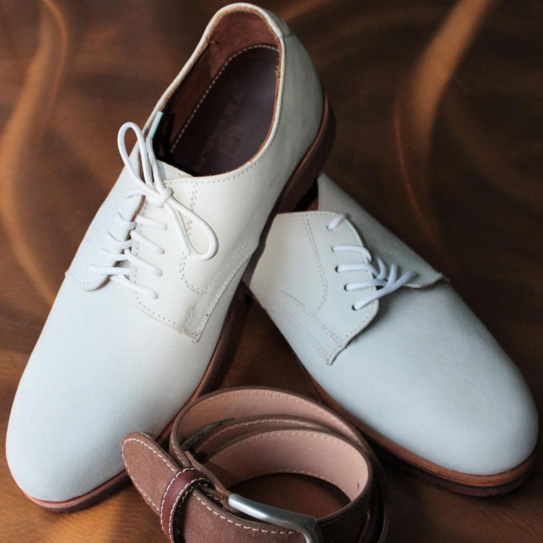 T.B. Phelps Buck Oxford Leather Shoe (White)