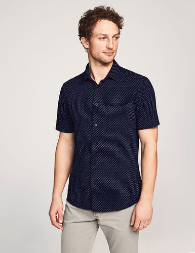 Faherty Short-Sleeve Knit Coast Shirt (Dark Indigo Fleck)