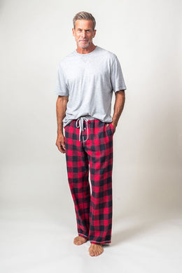 True Grit Men's Buffalo Checkered Flannel PJ Pant (Red)