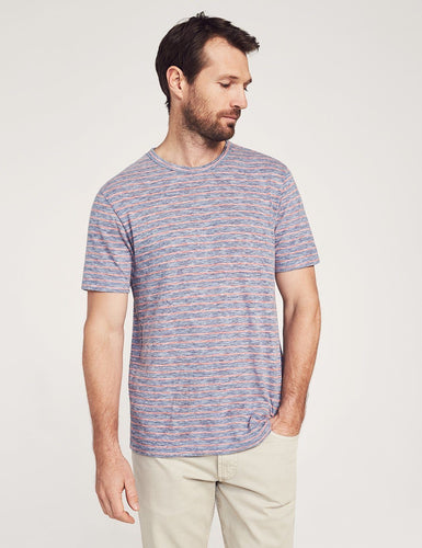 Faherty Short-Sleeve Heather Striped Tee (Blue Rose Stripe)