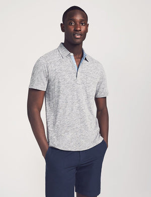 Faherty Short Sleeve Heather Polo (Charcoal Heather)