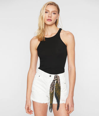 Pam & Gela Mid Rise Cut Off Shorts (White)