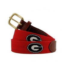 Load image into Gallery viewer, Smathers & Branson Men's Needlepoint Belt (Red / Georgia Bulldogs)