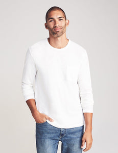 Faherty Long Sleeve Sunwashed Pocket Tee (White)