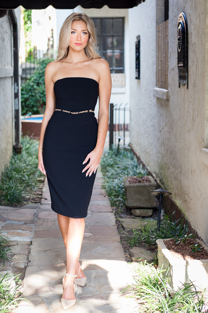 Black Halo Strapless Jackie O Dress (Black)