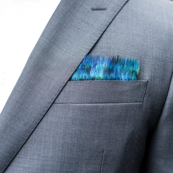 Brackish Peacock Pocket Square