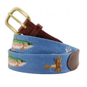 Smathers & Branson Men's Needlepoint Belt (Trout & Fly)