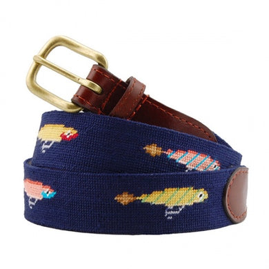 Smathers & Branson Men's Needlepoint Belt (Fishing Lures)
