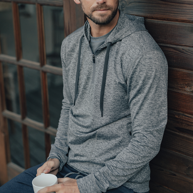 Products The Normal Brand Half Zip Performance Hoodie (Charcoal)