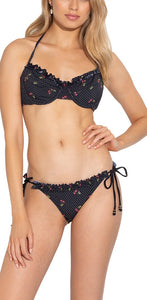 Shoshanna Black Tossed Cherries Bra Halter Bikini Top