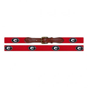 Smathers & Branson Men's Needlepoint Belt (Red / Georgia Bulldogs)