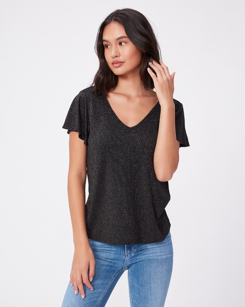 Paige Haider Tee in Gunmetal Charcoal Shimmer