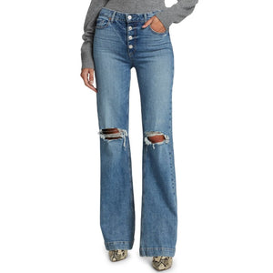 Paige Leenah with Exposed Button Fly Jeans (Magma Destructed)