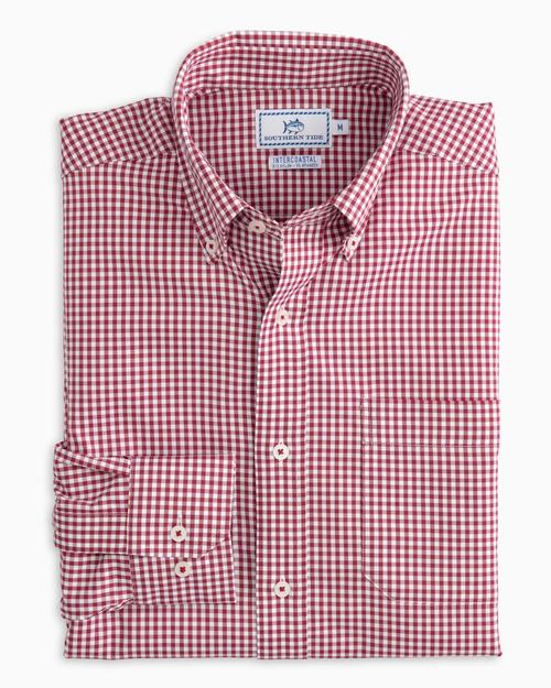 Southern Tide Intercoastal Shirt (Cherry Red / Micro Gingham)