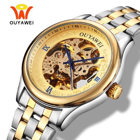 Ouyawei Skeleton Gold Men Watch