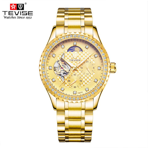 TEVISE Gold Stainless Steel Men Watch