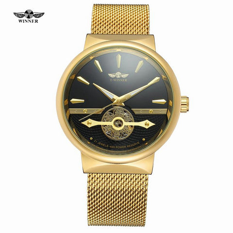 Winner Gold Silver Steel Men Watch