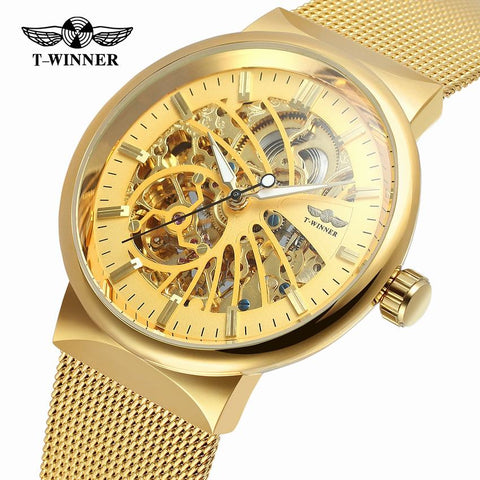 Winne Steampunk Gold Retro Casual Men Watch
