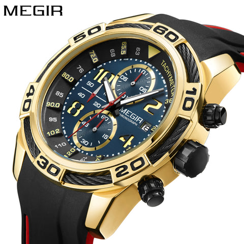 Megir Watch Rubber Gold Black Men Wrist Watch