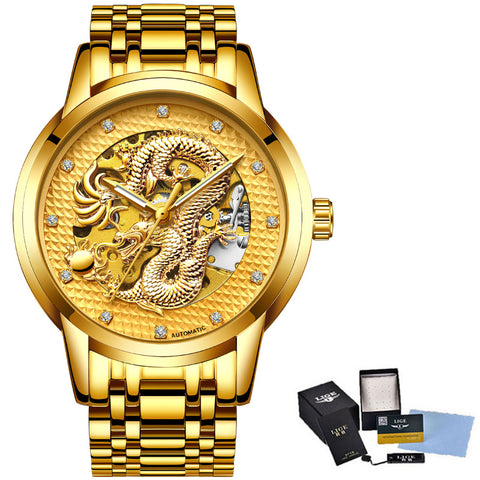 Relojes Skeleton Automatic Gold & Silver Men Watch