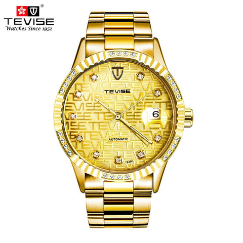 TEVISE Gold Full Stainless Steel Skeleton Men Watch