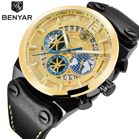 BENYAR Gold Stainless Watches Men