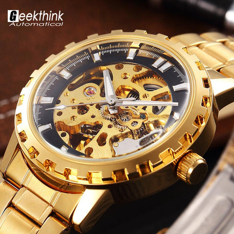 Geekthink Gold Skeleton Men Watch