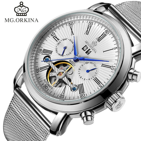 Tourbillon Watches Silver Plated Automatic Mechanical