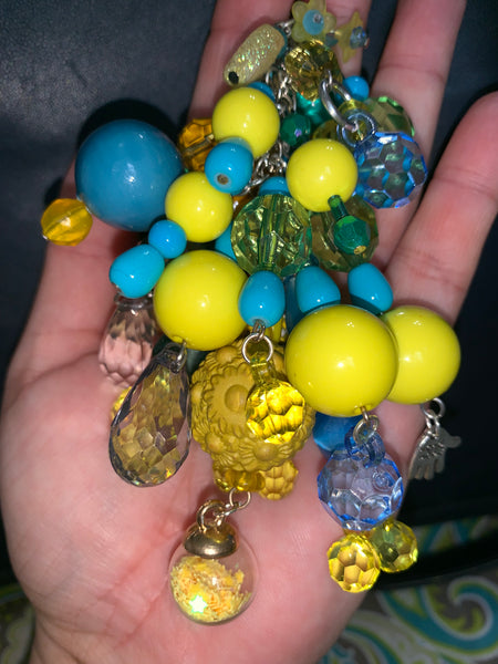 Turquoise and Yellow Chunky Charm