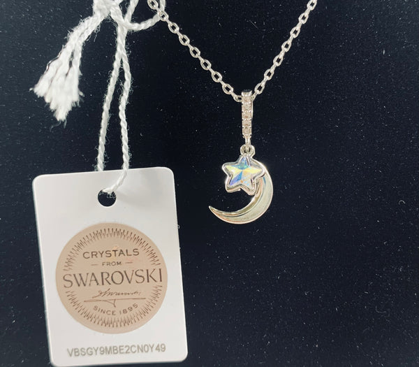 Star and Moon Sterling Silver Swarovski Necklace