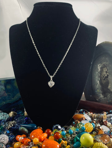 Sterling silver necklace, White crystal