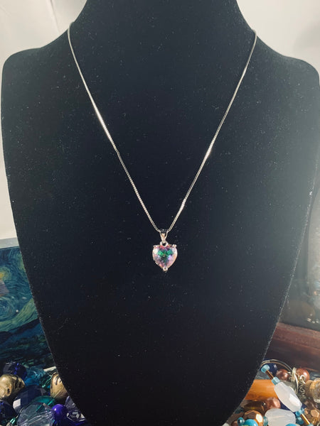 Sterling Silver Necklace, Rainbow Topaz