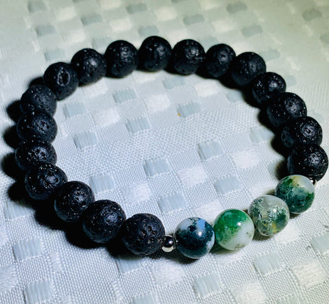 Tree Agate and Lava-Stone Bracelet