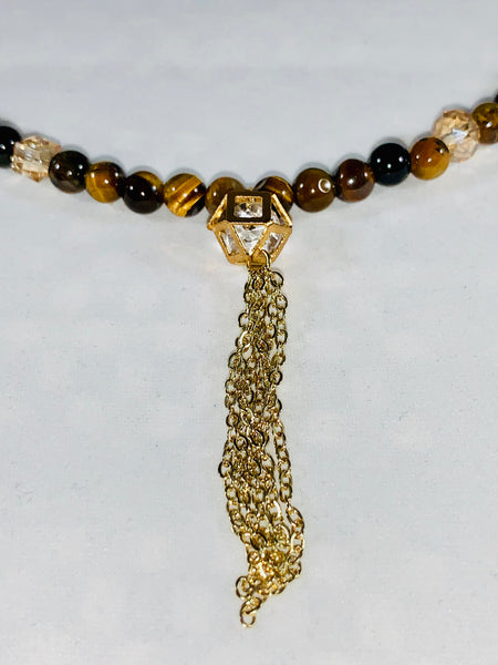Tiger eye and Crystals handmade necklace