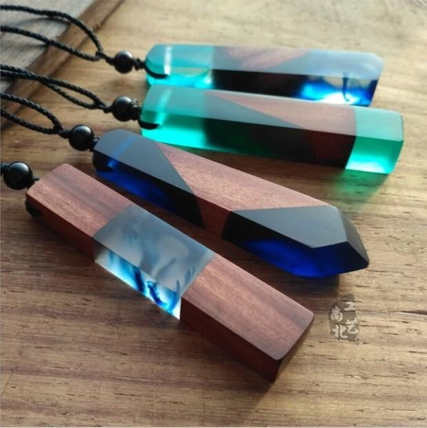 Wood Resin Necklace Pendant - Nature's Cosmos