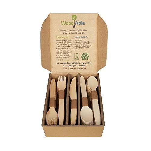 Disposable Wooden Forks, Spoons, Knives Set - Nature's Cosmos