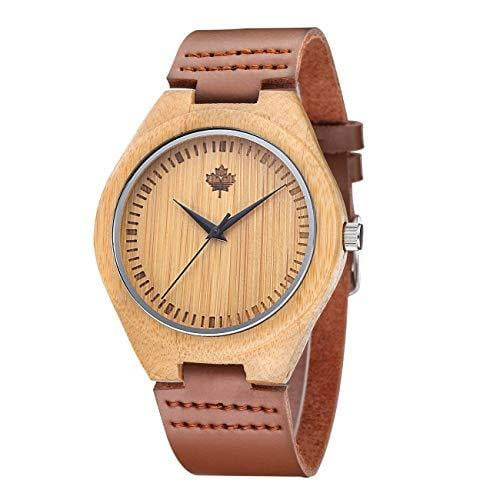 Bamboo Wood Watch with Cow Leather Strap - Nature's Cosmos
