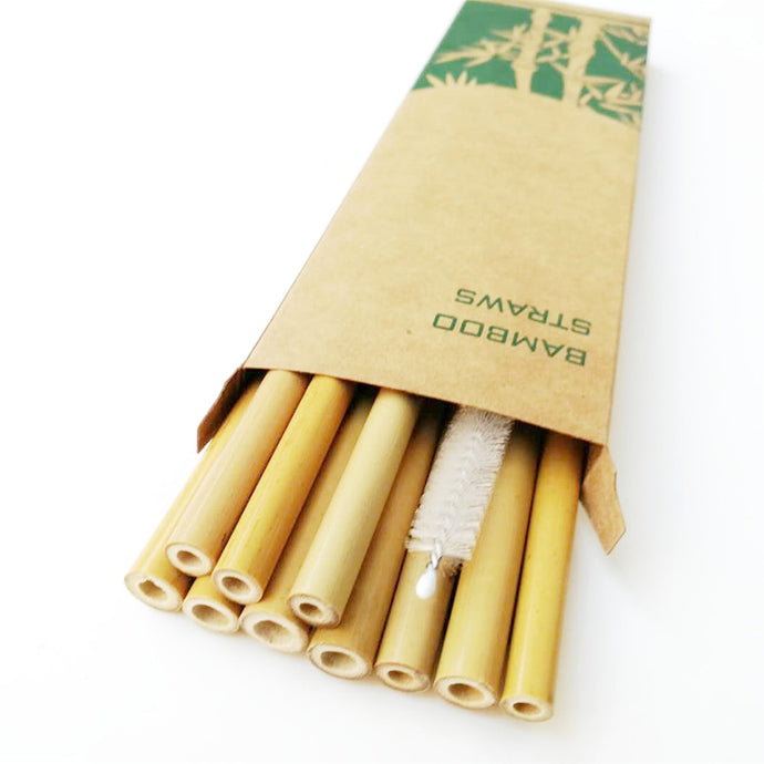 10pcs Reusable Bamboo Drinking Straws and Cleaning Brush - Nature's Cosmos