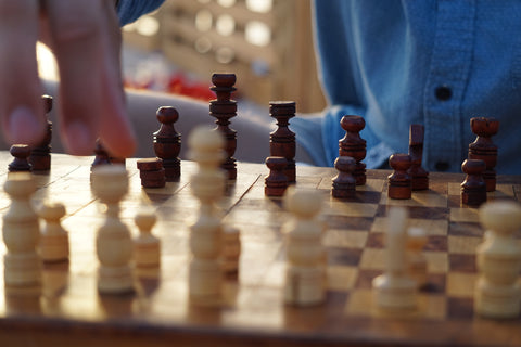 a close up of a game of chess