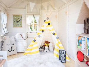 Inside view of Kids Playhouse Arctic Nario |white Outdoor Playhouse by WholeWoodPlayhouses