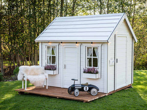 Kids Playhouse Arctic Nario in a backyard |white Outdoor Playhouse by WholeWoodPlayhouses