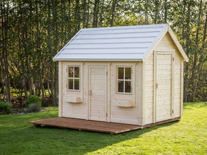 Natural Wonder Kids Playhouse from the front, showing Main Door, Adult Door, terrace by WholeWoodPlayhouses