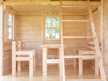 Load image into Gallery viewer, Furniture of Kids Playhouse Natural Wonder, one Bench, two Chairs and a Table by WholeWoodPlayhouses