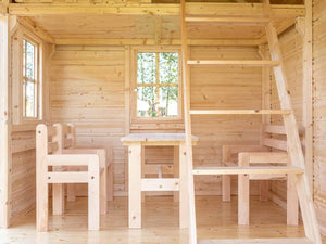 Furniture of Kids Playhouse Natural Wonder, one Bench, two Chairs and a Table by WholeWoodPlayhouses