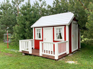 Outside of Kids Playhouse Nordic Nario| red Outdoor Playhouse by WholeWoodPlayhouses
