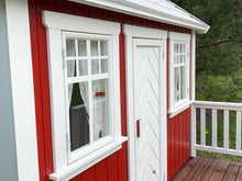 Load image into Gallery viewer, Close up of the front window of Kids Wooden Playhouse Nordic Nario by WholeWoodPlayhouses