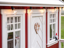Load image into Gallery viewer, Close up of the front windows and door of Outdoor Kids Playhouse Nordic Nario by WholeWoodPlayhouses