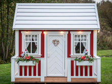 Load image into Gallery viewer, Kids Playhouse Nordic Nario from Front with Flower boxes by WholeWoodPlayhouses