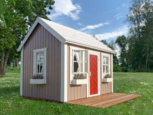 Load image into Gallery viewer, Kids Playhouse Plum with grey sides and red door in a backyard by WholeWoodPlayhouses