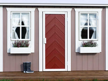 Load image into Gallery viewer, Kids Outdoor Playhouse Plum with wooden terrace and  red herringbone door WholeWoodPlayhouses